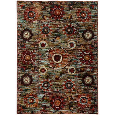 "Multi Floral Multi-colored Rug (3'10 x 5'5) - 3'10"" x 5'5"""