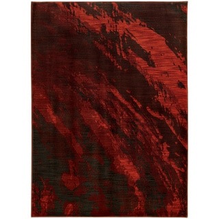 """Abstract Marble Red/ Charcoal Rug (3'10 x 5'5) - 3'10"""" x 5'5"""""""