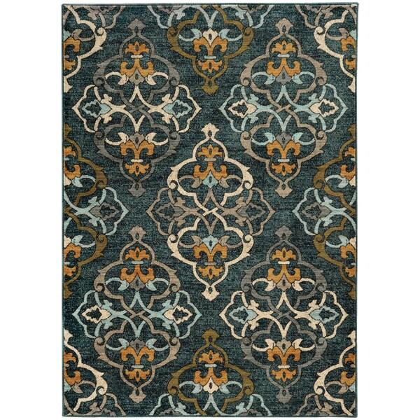 "Oranate Quatrefoil Blue/ Gold Rug (3'10 x 5'5) - 3'10"" x 5'5"""