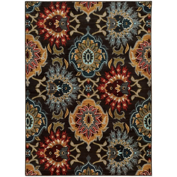 "Bold Floral Charcoal/ Multi Rug (3'10 x 5'5) - 3'10"" x 5'5"""