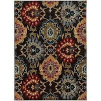 Bold Floral Charcoal/ Multi Rug - 3'10 x 5'5