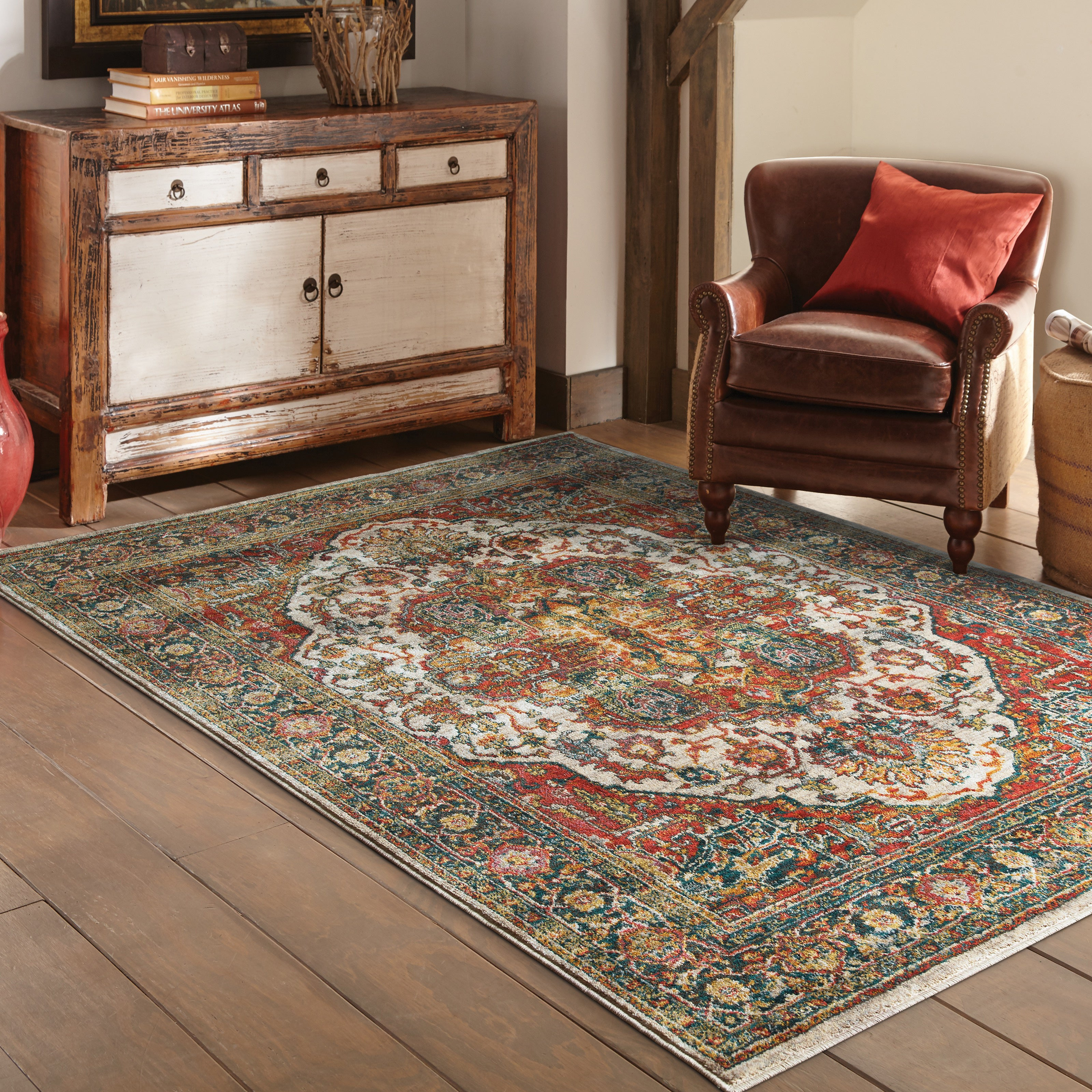Style Haven Old World Persian Red/ Multi Rug (3'10 x 5'5)...