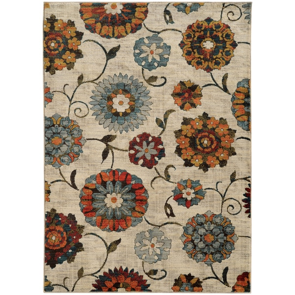 """Largescale Floral Ivory/ Multi Rug (3'10 x 5'5) - 3'10"""" x 5'5"""""""