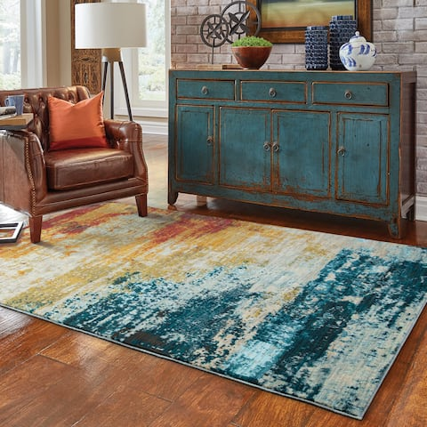 """Strick & Bolton Pepi Eroded Abstract Blue/ Red Rug - 3'10"""" x 5'5"""""""