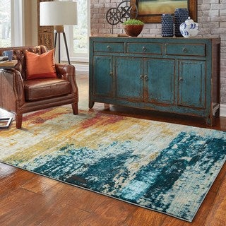 Eroded Abstract Blue/ Red Rug (3'10 x 5'5)