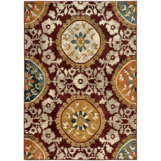 "Floral Medallion Red/ Gold Rug (3'10 x 5'5) - 3'10"" x 5'5"""