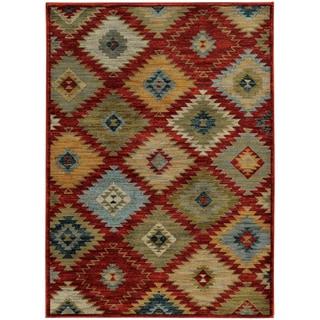"Southwest Tribal Red/ Multi Rug (3'10 x 5'5) - 3'10"" x 5'5"""