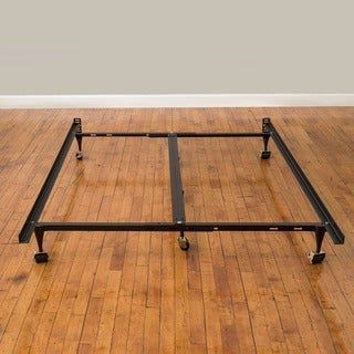 PostureLoft Universal Heavy Duty Adjustable Metal Bed Frame with Double Rail Center Bar and 7-Locking Rug Rollers
