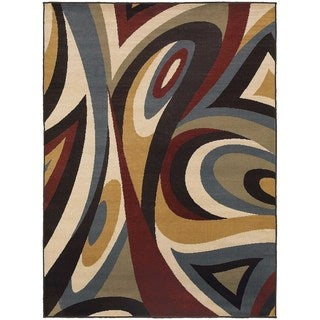 Abstract Swirl Brown/ Multi Rug (3'3 x 5'5)