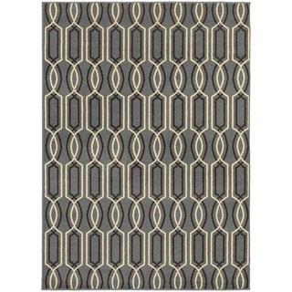 Geometric Lattice Blue/ Ivory Rug (3'3 x 5'5)