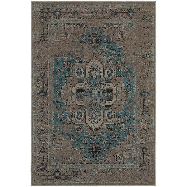 Traditional Distressed Overdyed Persian Grey/ Blue Rug (5'3 x 7'6)