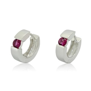 Gioelli Sterling Silver 4mm Round-cut Pink Tourmaline Hoop Earrings