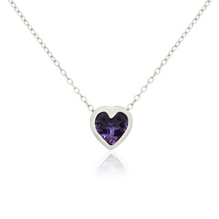 Gioelli Designs Sterling Silver Heart-cut Gemstone Necklace