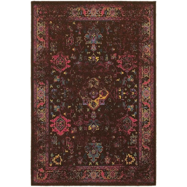 Traditional Distressed Overdyed Persian Brown/ Multi-colored Area Rug (5'3 x 7'6)