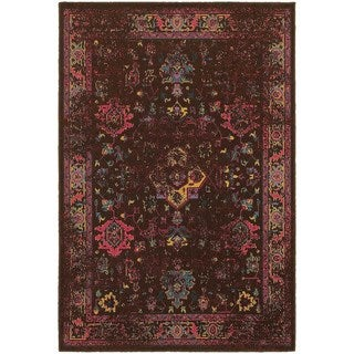"""Traditional Distressed Overdyed Persian Brown/ Multi-colored Area Rug (6'7 x 9'6) - 6'7"""" x 9'6"""""""
