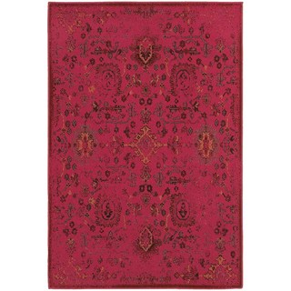 Traditional Distressed Overdyed Persian Pink/ Charcoal Rug (5'3 x 7'6)