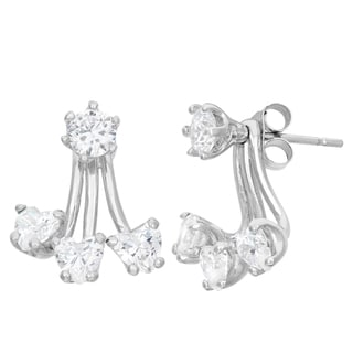 Gioelli Sterling Silver Heart Cubic Zirconia Earrings