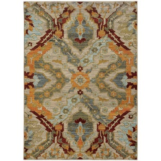 "Overscale Traditional Beige/ Orange Rug (6'7 x 9'6) - 6'7"" x 9'6"""