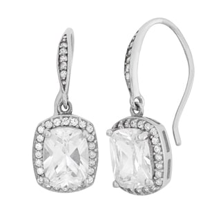 Gioelli Sterling Silver 4 1/2ct TGW Emerald-cut Cubic Zirconia Dangle Earring
