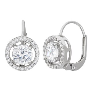 Gioelli Sterling Silver Halo Circle Leverback Dangle Earring