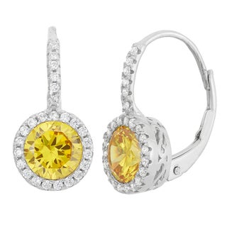 Gioelli Sterling Silver 1 7/8ct TGW Lemon Yellow Cubic Zirconia Dangle Earrings
