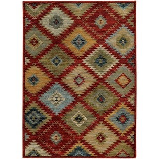 Southwest Tribal Red/ Multi Rug (5'3 x 7'6)