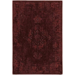 Traditional Distressed Overdyed Persian Red/ Pink Rug (6'7 x 9'6)
