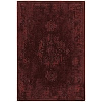 Traditional Distressed Overdyed Persian Red/ Pink Rug - 6'7 x 9'6