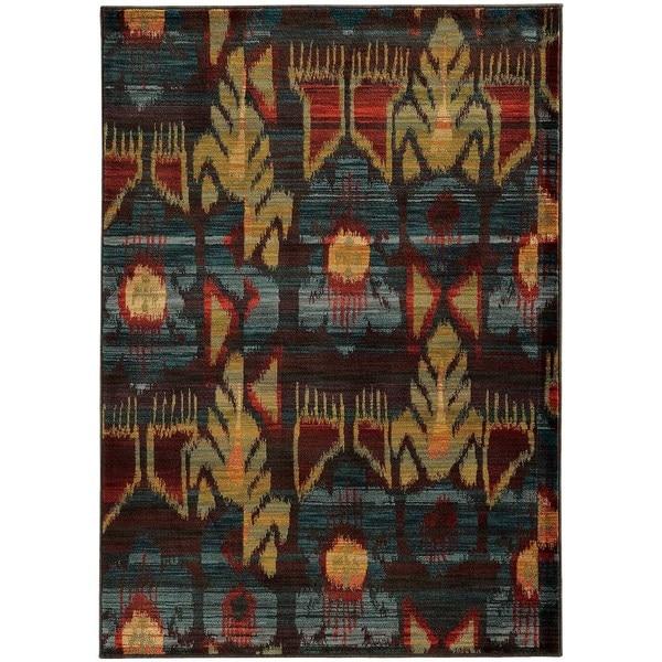 Abstract Tribal Charcoal/ Blue Rug (6'7 x 9'6)
