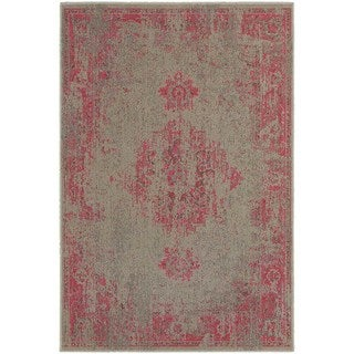 Traditional Distressed Overdyed Persian Grey/ Pink Rug (6'7 x 9'6)