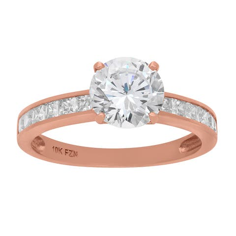 10k Rose Gold 8mm Cubic Zirconia Channel Stone Ring