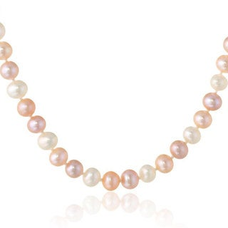 Suzy Levian 14k White Gold Multi-colored 11 mm Freshwater Pearl Necklace (18-inch)