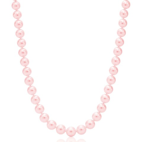 Suzy Levian 14k White Gold Graduating Pink Freshwater Pearl Necklace (12 - 12.5 mm) - Pink Pearl, White Gold