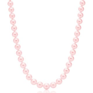 Suzy Levian 14k White Gold Graduating Pink Freshwater Pearl Necklace (12 - 12.5 mm)