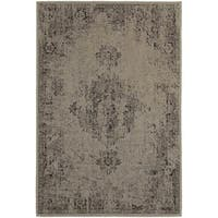 Silver Orchid Vinot Overdyed Antiqued Grey/ Charcoal Area Rug - 6'7 x 9'6