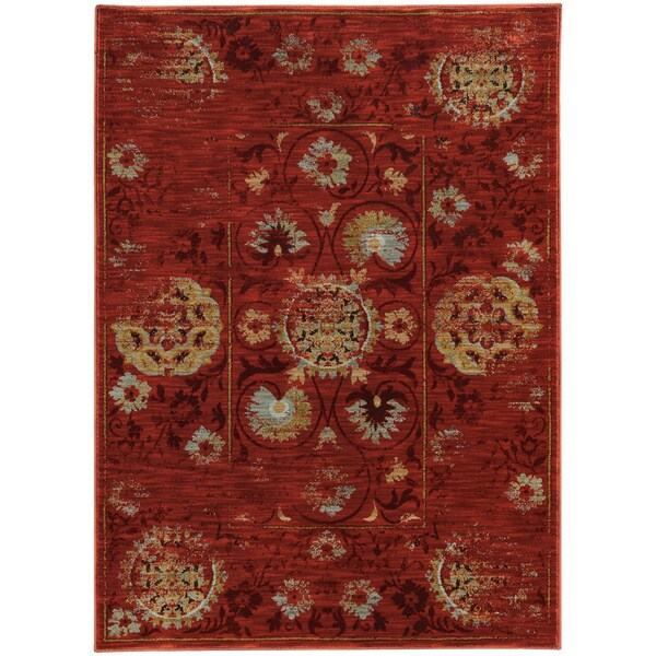 Distressed Oriental Red/ Gold Rug - 6'7 X 9'6