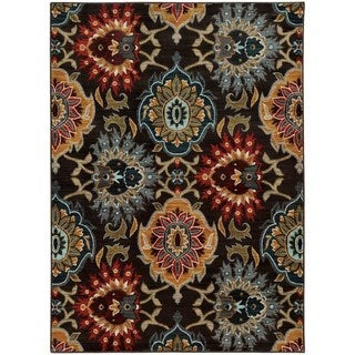 Bold Floral Charcoal/ Multi-colored Rug (6'7 x 9'6)