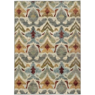 Tribal Ikat Ivory/ Grey Rug (5'3 X 7'6)