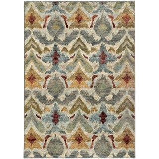 Tribal Ikat Ivory/ Grey Rug (6'7 X 9'6)