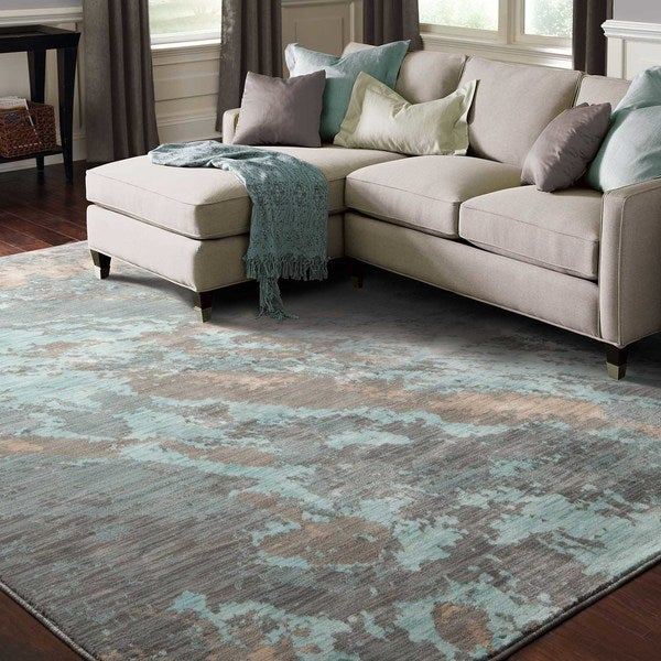 Abstract Marble Blue/ Grey Rug (6'7 X 9'6)