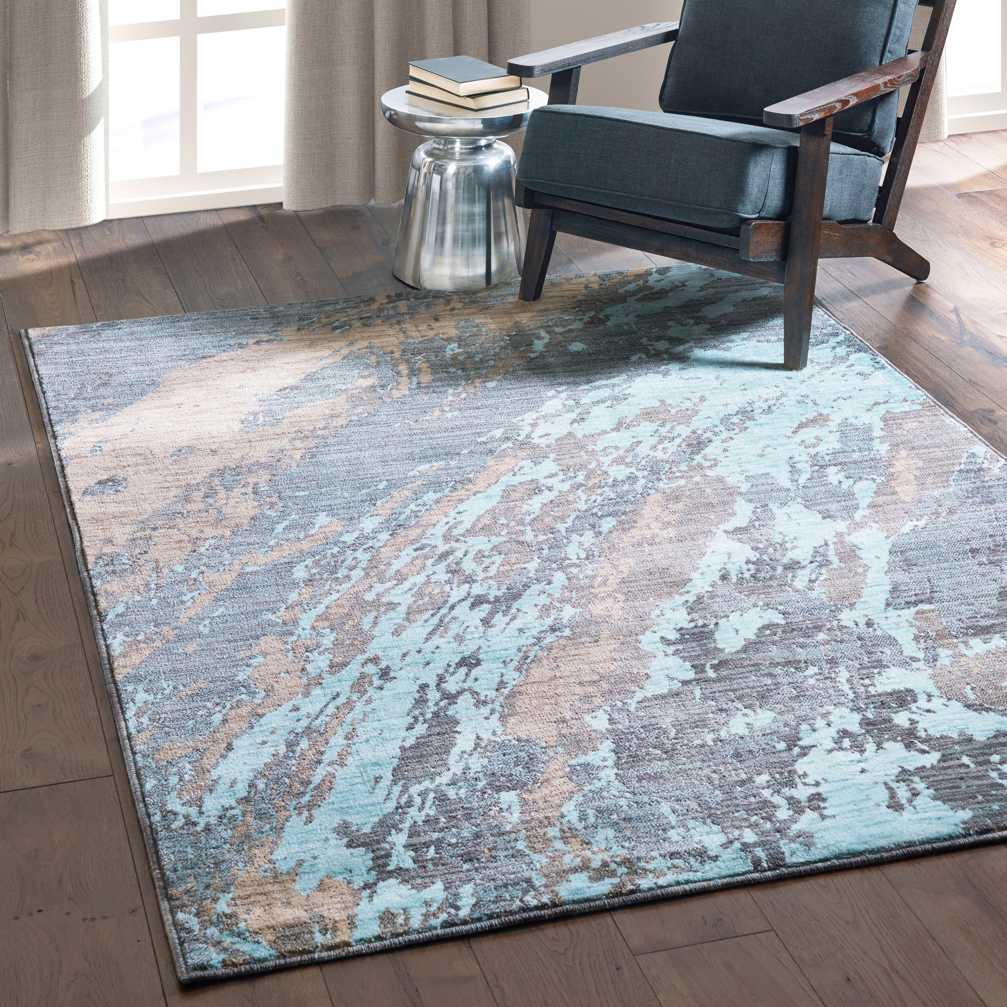 Carson Carrington Uddevalla Abstract Marble Blue/ Grey Rug - 67 x 96 (67 x 96 - Blue/Grey)