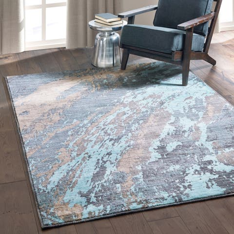 "Carson Carrington Uddevalla Abstract Marble Blue/ Grey Rug - 6'7"" x 9'6"""