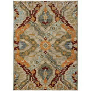 "Overscale Traditional Beige/Orange Rug (5'3 X 7'6) - 5'3"" x 7'6"""