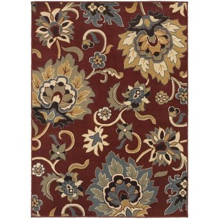 Large Scale Floral Red/ Gold Rug (5'3 X 7'3)