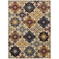 Floral Cross Panel Ivory/ Multi Rug