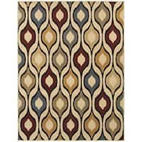 Odgee Design Ivory/ Multi-colored Rug (5'3 x 7'3)