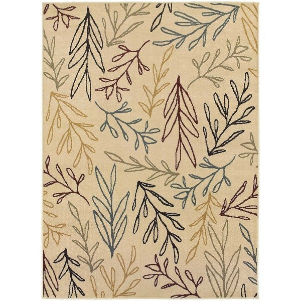 "Line Drawn Leaf Ivory/ Multi Rug (5'3 X 7'3) - 5'3"" x 7'3"""