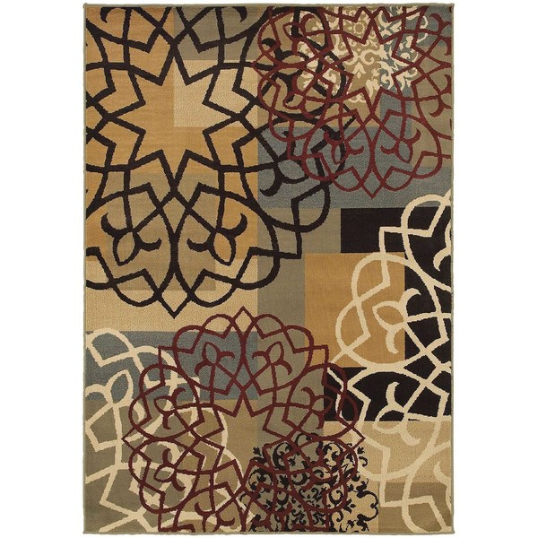 Geometric Block and Floral Multi/ Gold Rug