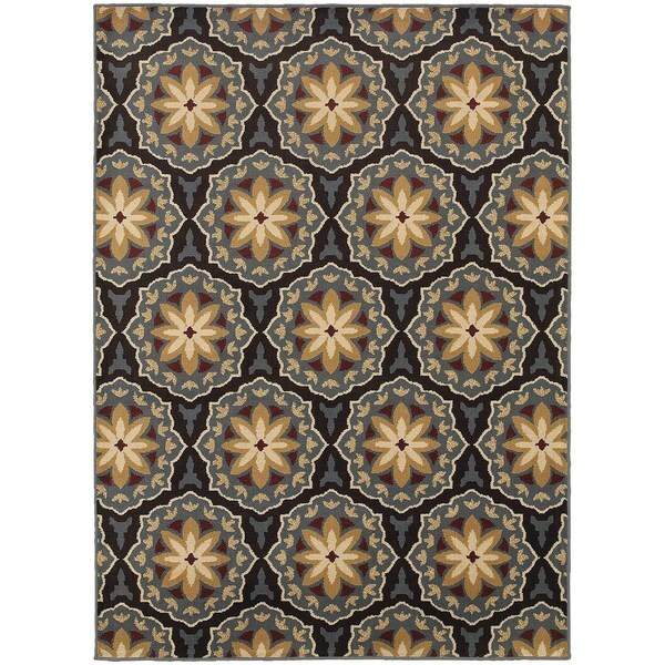 Shop Floral Panel Blue Brown Rug 7 10 X 10 0 On Sale Free