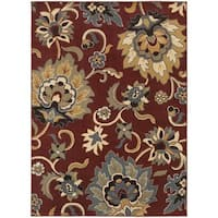 Large Scale Floral Red/ Gold Rug - 7'10 x 10'0